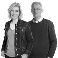 Katarina Kyllmar och Anders Glimskär, koordinator respektive biträdande koordinator för program Jordbrukslandskap. Fotograf: Jenny Svennås-Gillner (Katarina Kyllmar) och Mark Harris (Anders Glimskär)