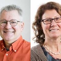 Från vänster: Anders Glynn, koordinator för program Giftfri miljö vid SLU och Karin Wiberg, biträdande koordinator. Foto: Jenny Svennås-Gillner och Viktor Wrange.