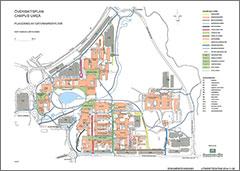 Länk till större bild av översikt över universitetsområdet i Umeå (pdf, 2,5 mb, öppnas i nytt fönster).