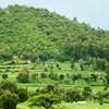 Jordbruksslätt, några gårdar och ett litet berg i bakgrunden.
